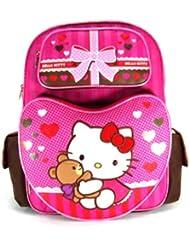Backpack - Hello Kitty - Pink Brown Bear Hug (Large School Bag) New 630379