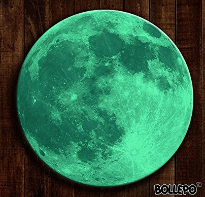 BOLLEPO Glow in The Dark Moon 30cm Night Light Glowing Luminous Wall Art Stickers Removable Adhesive Wall Decal for Kids Boy and Girl Bedroom -