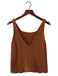 Futurino Women's Crochet Knit V Neck Sleeveless Sweater Vest Crop Top Tank