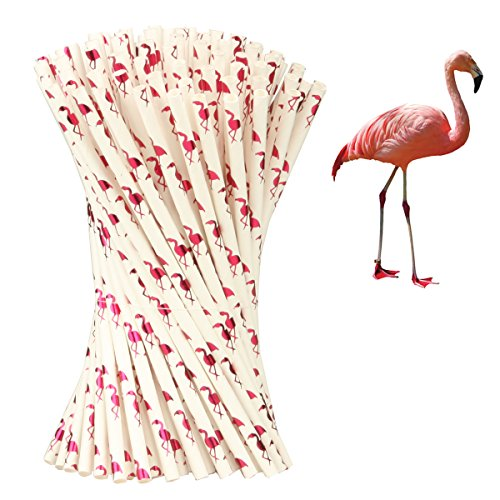 Haberi 100 Pcs Biodegradable Paper Straws for Birthdays, Weddings, Baby Showers, Celebrations and Parties (Flamingo)