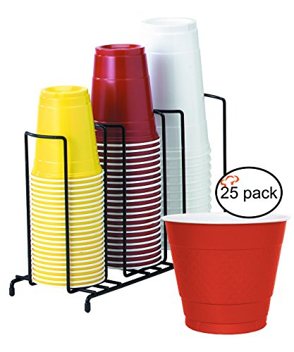 TigerChef TC-20409 3-Section Cup and Lid Organizer Wire Rack with 25 Red Disposable 9 Oz Plastic Party Cups and Breakroom Organizer Countertop Cup Dispenser