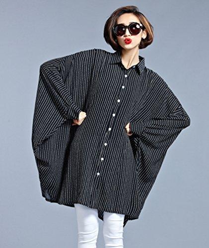 Heheja Mujer Manga Bat Camiseta Vestido Relajado Rayas Blusa Vestidos Negro