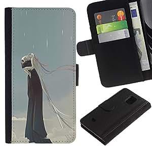 KingStore / Leather Etui en cuir / Samsung Galaxy S5 Mini, SM-G800 / Lluvia Monstruo Muerte Azul Nubes cráneo