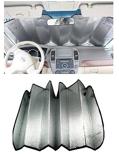 Aluminum Shade - Elandy 1Pcs Double-Sided Aluminum Foil Car Windshield Cover Front Window Sunshade Foldable Reflective Blocks UV Rays Sun Visor Protector Keeps Vehicle Cool(Silver-51'' x 23.6'')