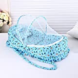 MLF-Baby Foldable Mosquito Net Basket Baby Multifunctional newborn cradle with canopy,Blue,90*45cm