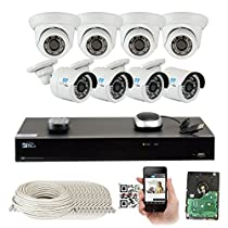 8 Channel H.265 4K 8MP NVR 4MP (2592 x 1520) Network PoE Security Camera System - Eight 4MP 1536p @ 30fps Realtime POE Weatherproof Onvif Bullet & Dome IP Cameras, 80ft Night Vision
