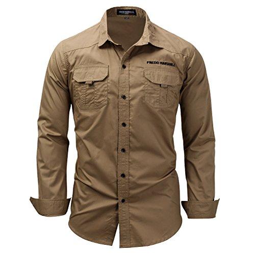 K-Men Authentics Men's Big-Tall Long Sleeve Canvas Work Shirt (Khaki, X-Large) ()