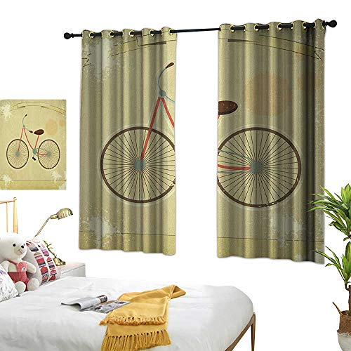 (LsWOW Restaurant Curtain W55 x L63 Vintage,Postcard of a Retro Bicycle on Grunge Background Illustration Artwork Print, Brown and Khaki Room Darkening Curtains for Bedroom)