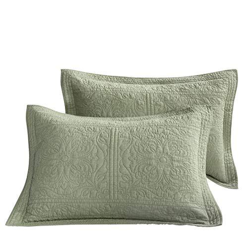 Matelasse Standard Pillow Sham - WINLIFE 100% Cotton Quilted Pillow Sham Floral Printed Pillow Cover Green