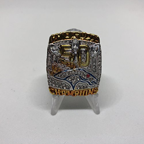 Peyton Manning #18 Denver Broncos High Quality Replica Super Bowl 50 L Ring Size 8.5 Silver Broncos