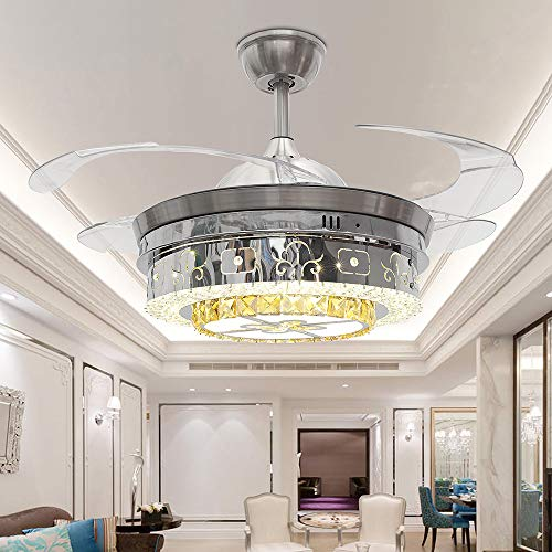 TiptonLight Chandelier Ceiling Fan Lamp Folding Ceiling Fans With Lights Ceiling Fan With Light Dining Room Decorative with Remote Control (42 inch, White)