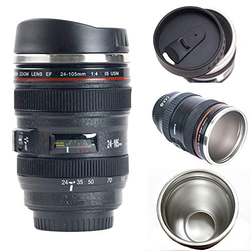 Camera Lens Coffee Mug/Cup With Lid,Photo Coffee Mugs Stainless Steel Travel Lens Mug Thermos TMANGO -