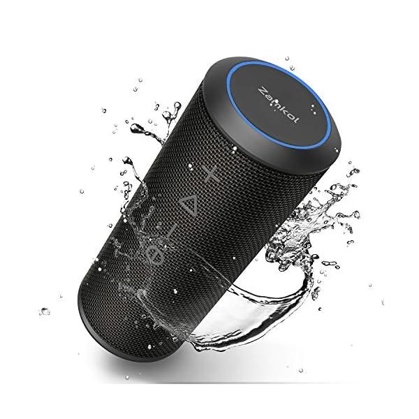 Zamkol Enceinte Bluetooth Portable, Waterproof Haut-Parleur Bluetooth Enceinte d'extérieur sans Fil 24W, 360° HD Bass Pilote Double, Bluetooth 4.2, étanche IPX6, Mains Libres et Technologie TWS 1