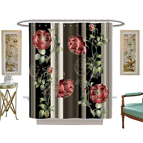 luvoluxhome Shower Curtains Waterproof Background from a Flowers Ornament Fashionable Wallpaper or Textile Fabric Bathroom Decor Set with Hooks W72 x L84