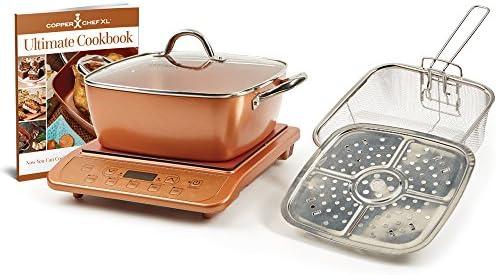 Copper Chef XL 11 Casserole 5 pc Set Induction Cooktop Casserole 5pc Set with Black Induction Cooker