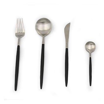 YGJT Cubiertos Cuberterias Combinadas de Acero Inoxidable 4 Piezas Color Plata y Negro Cuchara Cuchillo Tenedor Cucharilla: Amazon.es: Hogar