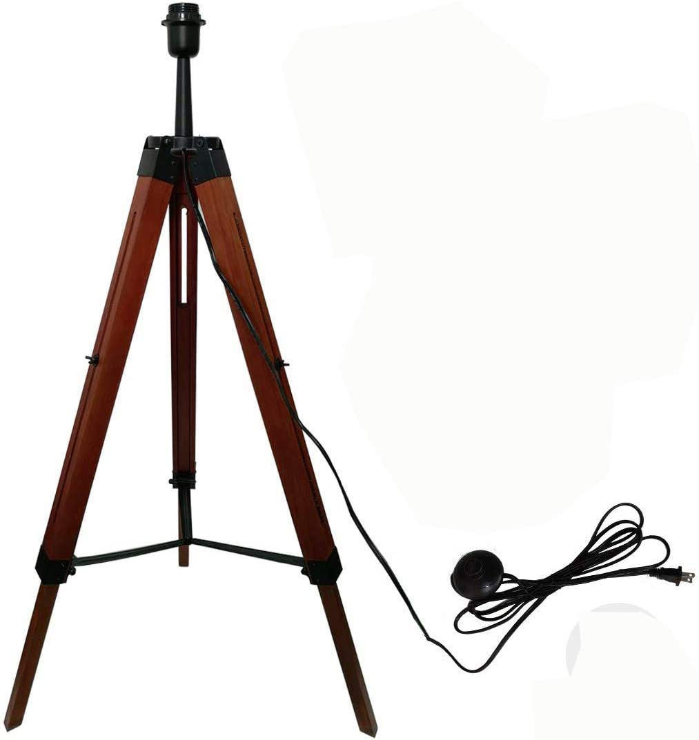 Rustic Tripod Floor Lamp Wood for Living Room Bedrooms Adjustable Stand Light Industrial Natural Wooden Vintage Mid Century Standing Home Decor Led Lighting Antique Base e26 only