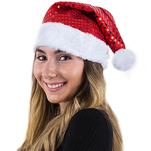 - Sequin Santa Hat - Christmas Hats - Santa Hats Adults - Holiday Hats by Funny Party Hats