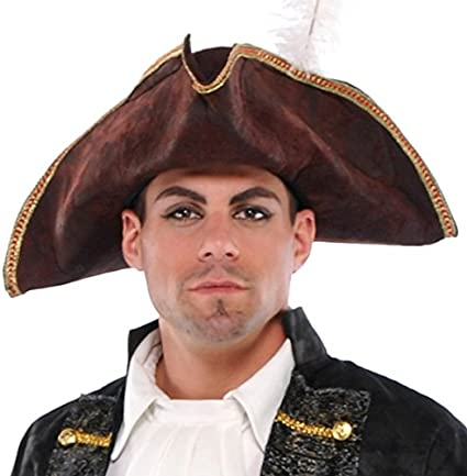 Costume Black Hat gold trim and feather ~ NEW Pirate ~Buccaneer ~ Halloween