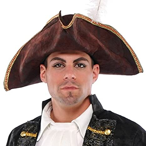 95ca92d8 Amazon.com: AMSCAN Brown Tricorn Pirate Hat Halloween Costume Accessories,  One Size: Toys & Games
