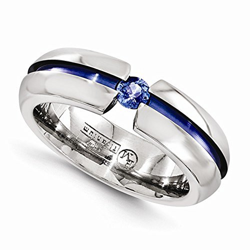 Edward Mirell Titanium Tension Set Blue Sapphire and Blue Anodized 6mm Wedding Band - Size 11.5 by Edward Mirell