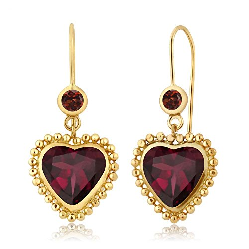 Gem Stone King 4.24 Ct Heart Shape Red Rhodolite Garnet Red Garnet 14K Yellow Gold Earrings