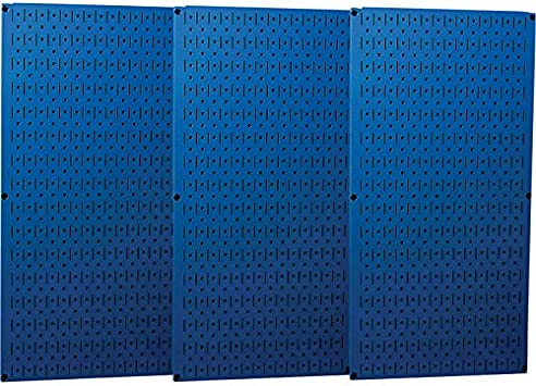 Model Number 35-P-3248BU Three 16in Panels Blue Wall Control Industrial Metal Pegboard x 32in