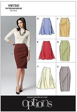 VOGUE PATTERNS V8750 - Patrones de Costura para Faldas de Mujer ...