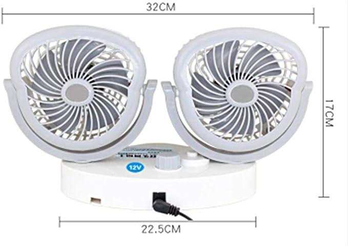 Portátil Mini 12/24 V Coche Ventilador Eléctrico Coche Con Rotación Auto Aire Enfriamiento Doble Cabeza Ventilador Bajo Ruido Enfriador de Aire de Coche Accesorios: Amazon.es: Coche y moto