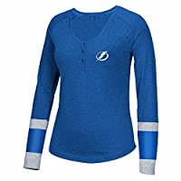 Tampa Bay Lightning NHL Reebok Blue Striped Henley 3-Button Long Sleeve Shirt For Women