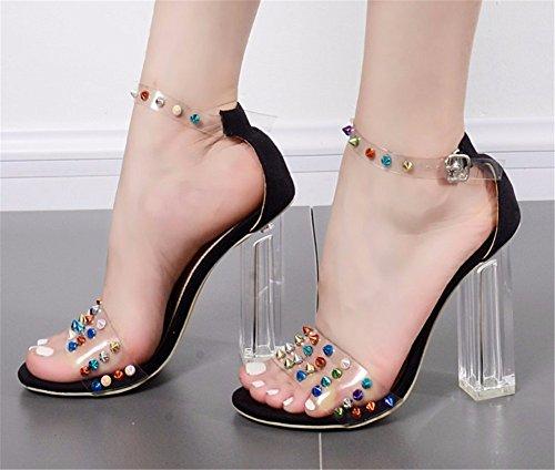 HXVU56546 Correa Ranurada Tornillos Metálicos De Verano Mujer Zapatos De Tacón Alto De Cristal Transparente Irregular Con Grandes Astilleros Sandalias Moda black