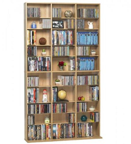 Atlantic Oskar Wood Cabinet - Oskar Media Tower 1080 CD - 504 DVD / BluRay / Games Wood Cabinet (Maple) (71.25H x 9.13W x 40.00D)