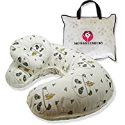 NURSING / FEEDING PILLOW with BONUS HEAD POSITIONER- PANDA DESIGN - By Mother Comfort - Comfortable for both Mother and Baby - Removable Cotton Cover- Easy to Wash