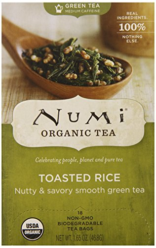 Numi Organic Tea Toasted Rice Green, Full Leaf Green Tea in Teabags, 18-Count Box (Pack of 6) (Rice Tea Numi compare prices)