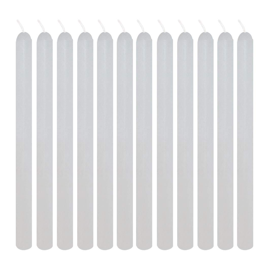 JH Smith Pack of 12 - Taper Candles 1/2 x 7 3/4 (Tall & Skinny) - Forever Candle Holder Refills. T2-BA1H-6ZX4