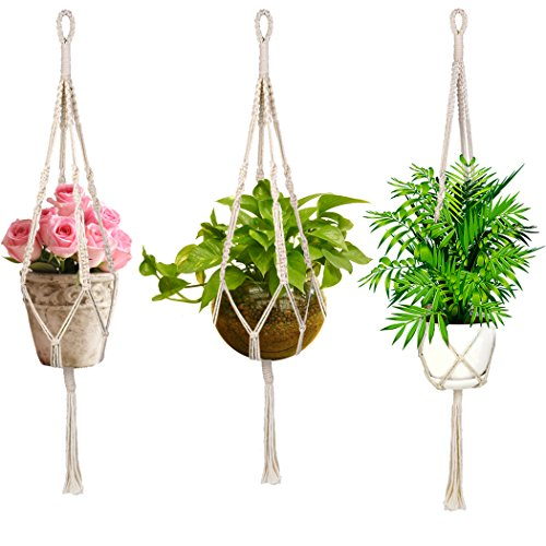 Macrame Plant Hanger, Handmade Craft Home Decor for Indoor Outdoor Decorations Wall Art, Hanging Planter Basket Cotton Rope 4 Legs 47 Inch – Beige Crafts Outdoor Wall