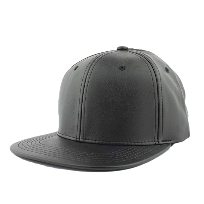 912991821ce Amazon.com  Pitbull Cap Men s Blank Faux Leather Snapback Hat (Black)   Clothing
