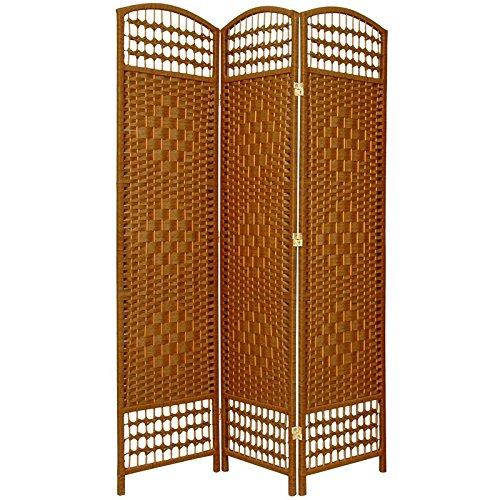 Oriental Furniture 5 1/2 ft. Tall Fiber Weave Room Divider - DarkBeige - 3 Panel