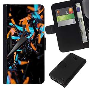 All Phone Most Case / Oferta Especial Cáscara Funda de cuero Monedero Cubierta de proteccion Caso / Wallet Case for LG OPTIMUS L90 // abstracto azul naranja 3 d patrón negro