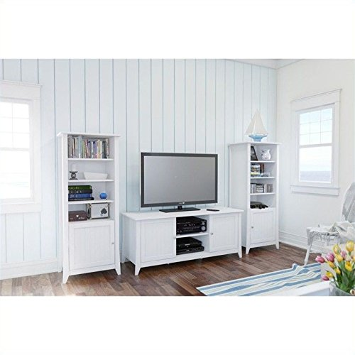 2 Pier Cabinets Set - Nexera Vice Versa 3 Piece Entertainment Set with Curio Cabinet in White