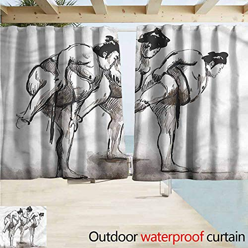 MaryMunger Darkening Curtains Japan Professional Sumo Wrestlers Simple Stylish Waterproof W72x45L Inches]()
