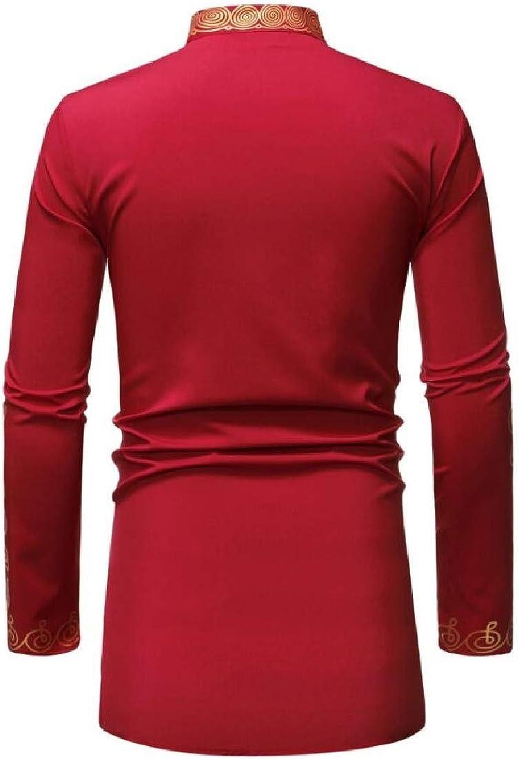 BYWX Men Irregular Vogue African Print Dashiki Casual Mandarin Collar Long Sleeve Dress Work Shirt