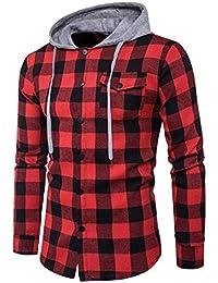 Mens Drawstring With Hood Fashion Plaid T Shirt Light Jacket