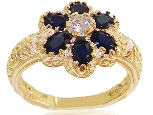 18k Yellow Gold Natural Sapphire Womens Cluster Ring - Sizes 4 to 12 (Gold Sapphire Estate Ring)
