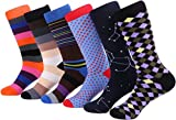 Marino Colorful Fun Socks for Men, Colored Patterned Mens Dress Socks, Cotton Funky Color Socks - 6 Pairs