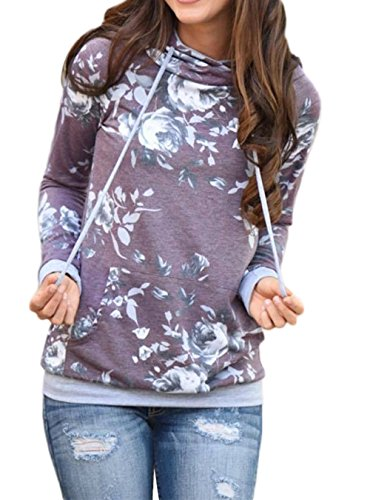 Kbook Women's Fashion Floral Print Long Sleeve Pullover Hoodie Sweatshirt with Pockets,Purple,X-Large