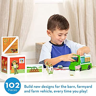 Melissa & Doug Magnetivity Magnetic Tiles Building Play Set – On the Farm with Tractor Vehicle (102 Pieces, STEM Toy): Toys & Games
