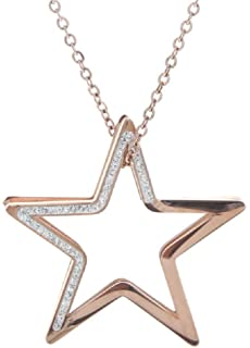 Echt Edelstahl Kette Halskette Lange Kette 80cm mit Anhänger Stern Strass