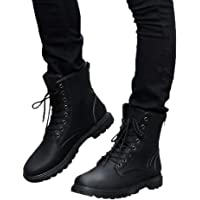 Mens Leather Boots Lace Up Martin Boots Autumn Winter British Booties Fitfulvan