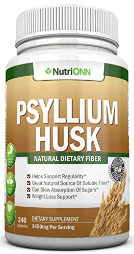 PSYLLIUM Husk Capsules - 1450mg Per Serving - 240 Capsules - Premium Psyllium Fiber Supplement - Great for Constipation, Digestion and Weight Loss - 100% Natural Soluble ()
